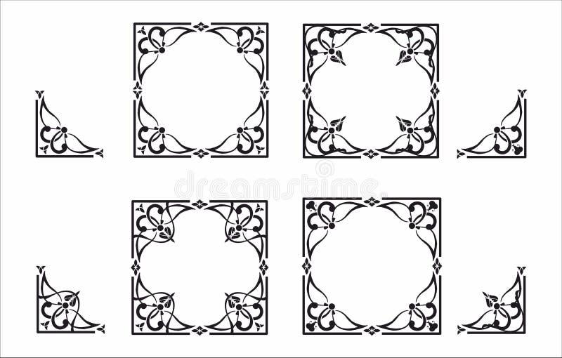 Dekorativ hörn och ram stock illustrationer