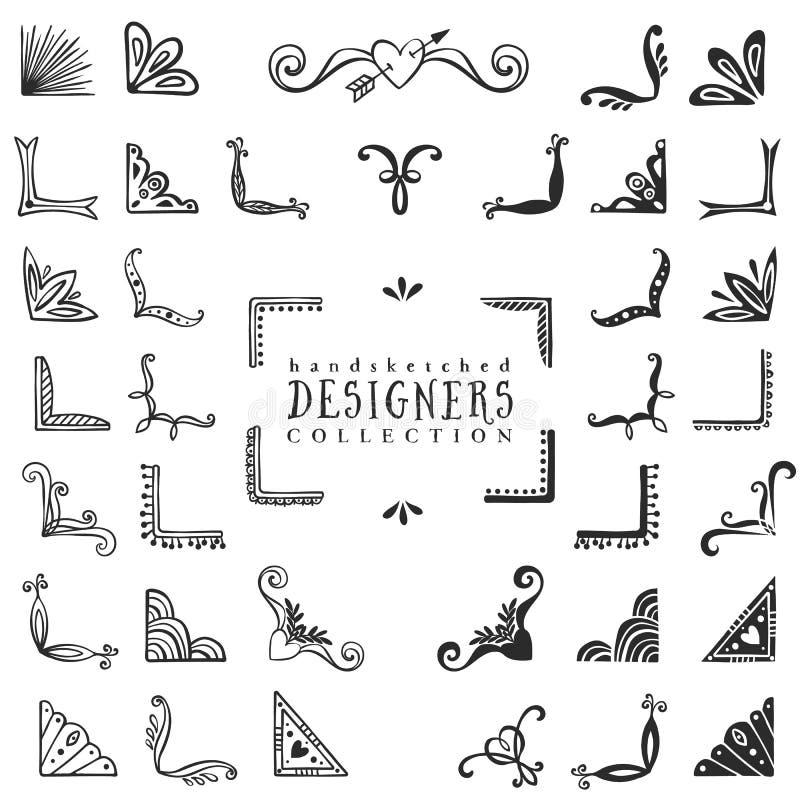 Dekorativ hörnsamling för tappning Hand dragen vektordesign royaltyfri illustrationer