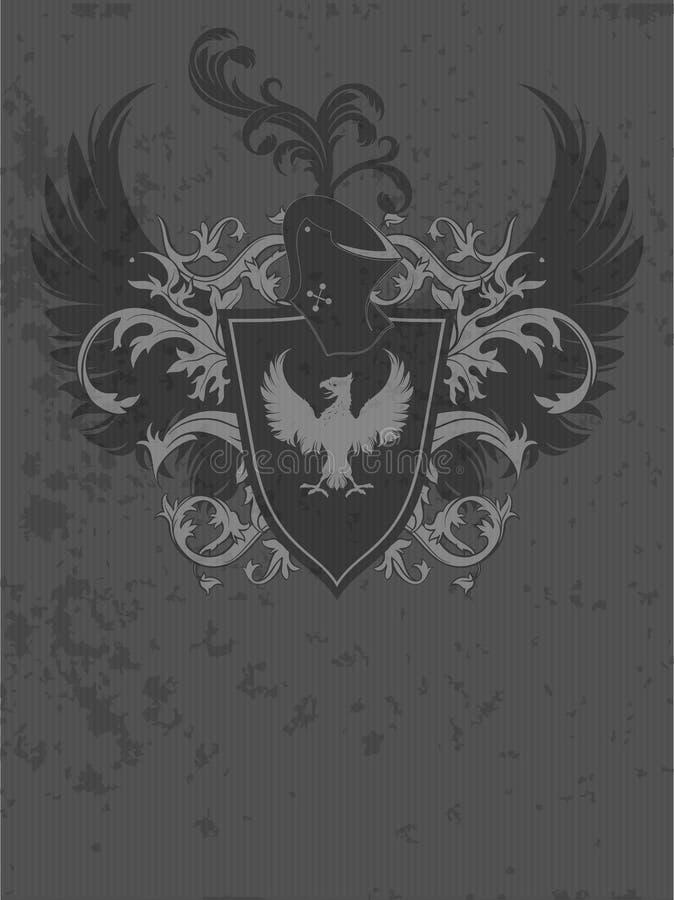 Dekorativ heraldisk sköld royaltyfri illustrationer