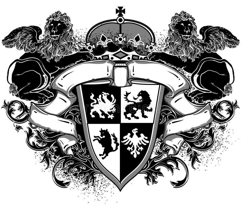 Dekorativ heraldisk sköld med lejon stock illustrationer