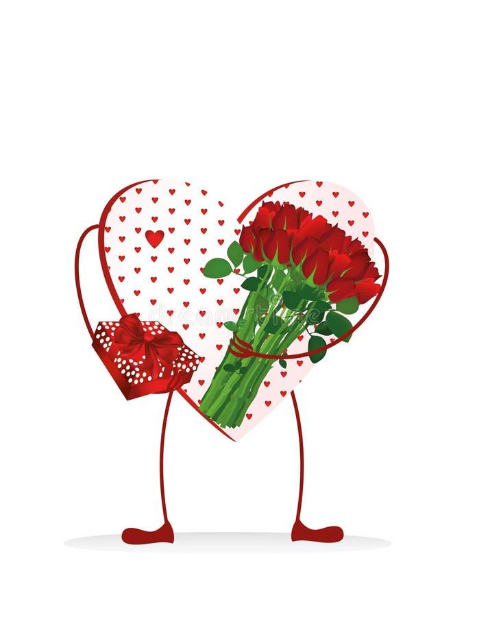 Dekorativ hjärta med ben som rymmer en bukett av blommor vektor illustrationer