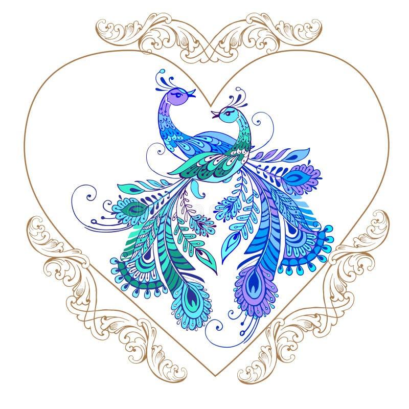 Dekorativ hjärta med purpurfärgade fåglar klar vektor för nedladdningillustrationbild vektor illustrationer