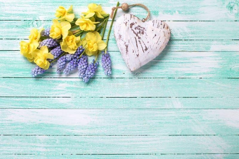 Dekorativ hjärta och nya guling och blått fjädrar blommor på tu royaltyfri foto