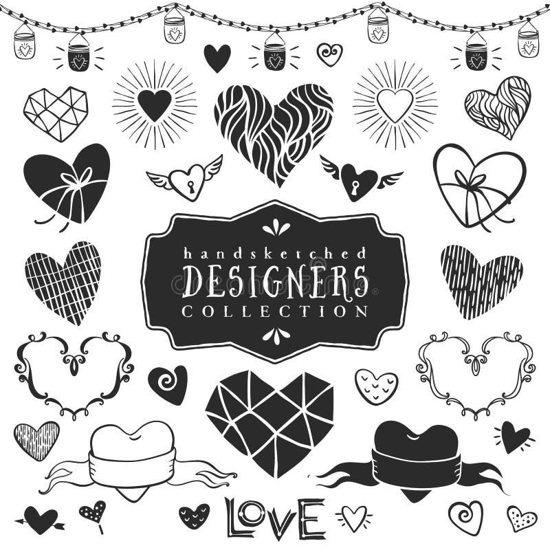 Dekorativ hjärtasamling för tappning Hand dragen vektordesign vektor illustrationer