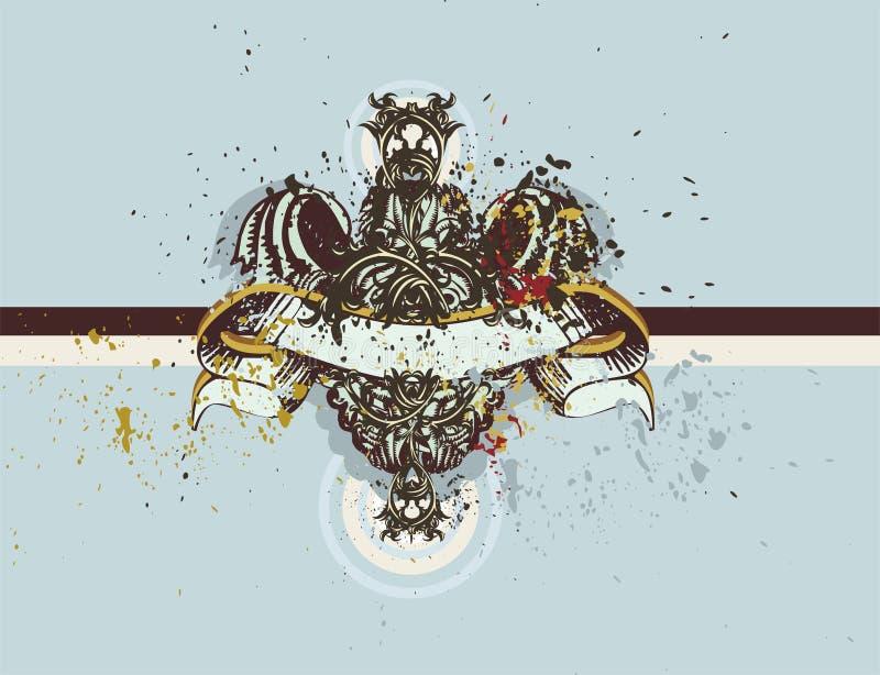 dekorativ illustrationsköldtappning royaltyfri illustrationer