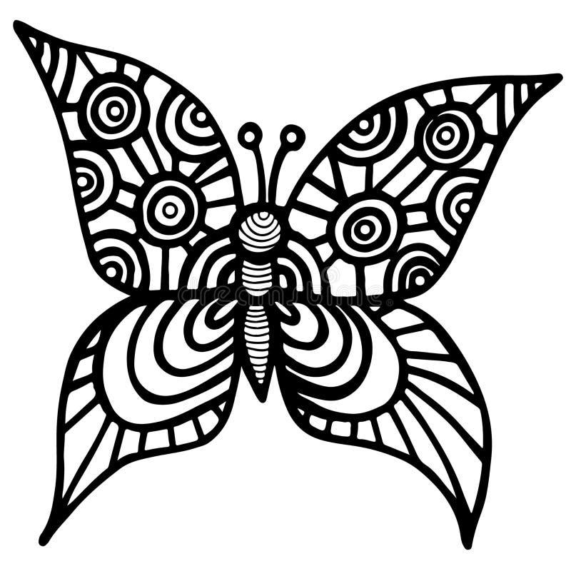 Dekorativ isolerad fjäril för tatuering, färgläggningbok eller sida stock illustrationer