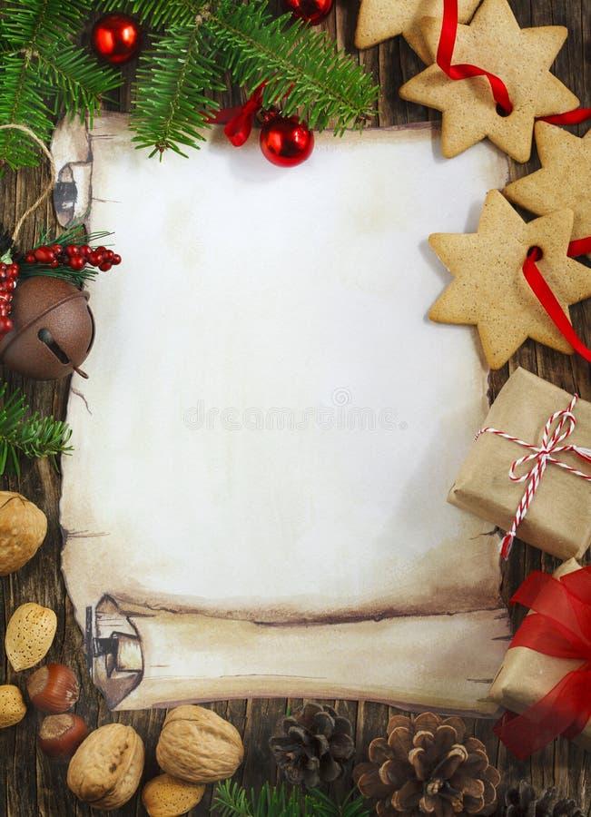 Dekorativ julrambakgrund arkivfoto