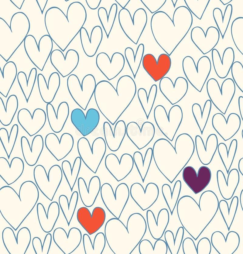 Dekorativ klotterbakgrund med hjärtor vektor illustrationer