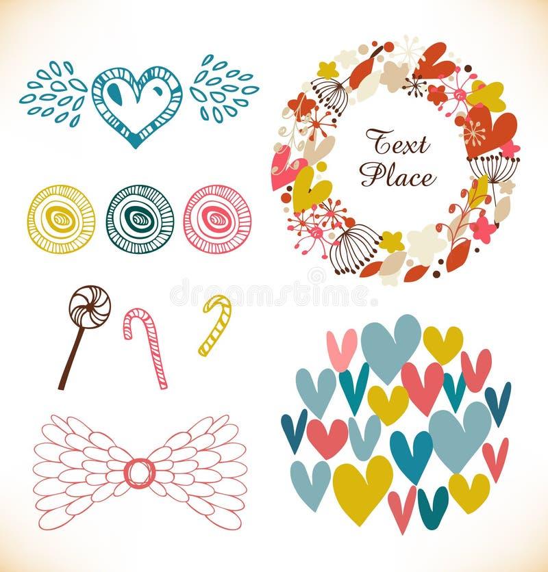 Dekorativ klottersamling med många gulliga beståndsdelar Hjärtor blommor, ängel påskyndar, klubbor, sugarplum stock illustrationer