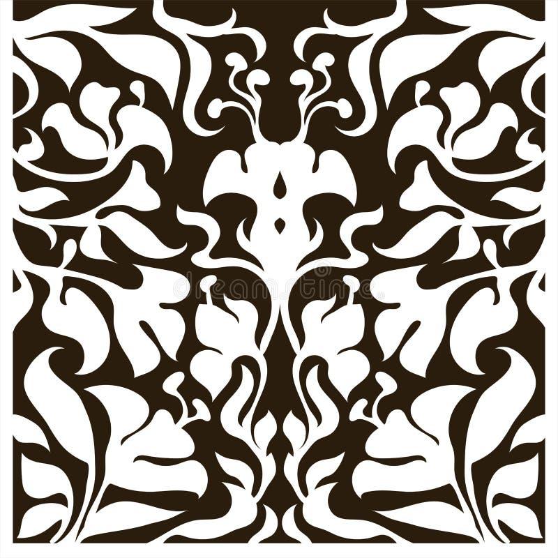 Dekorativ kontur för det bitande kortet, dörr, port, fönster Art Nouveau Flowers Pattern stock illustrationer