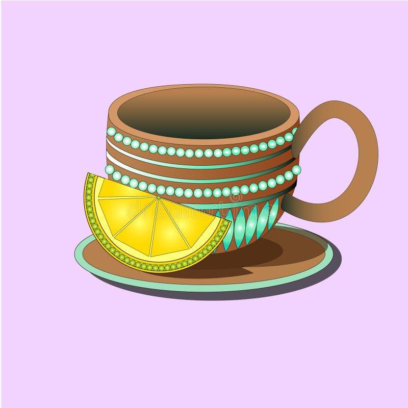 Dekorativ kopp på en platta med citronen royaltyfri illustrationer