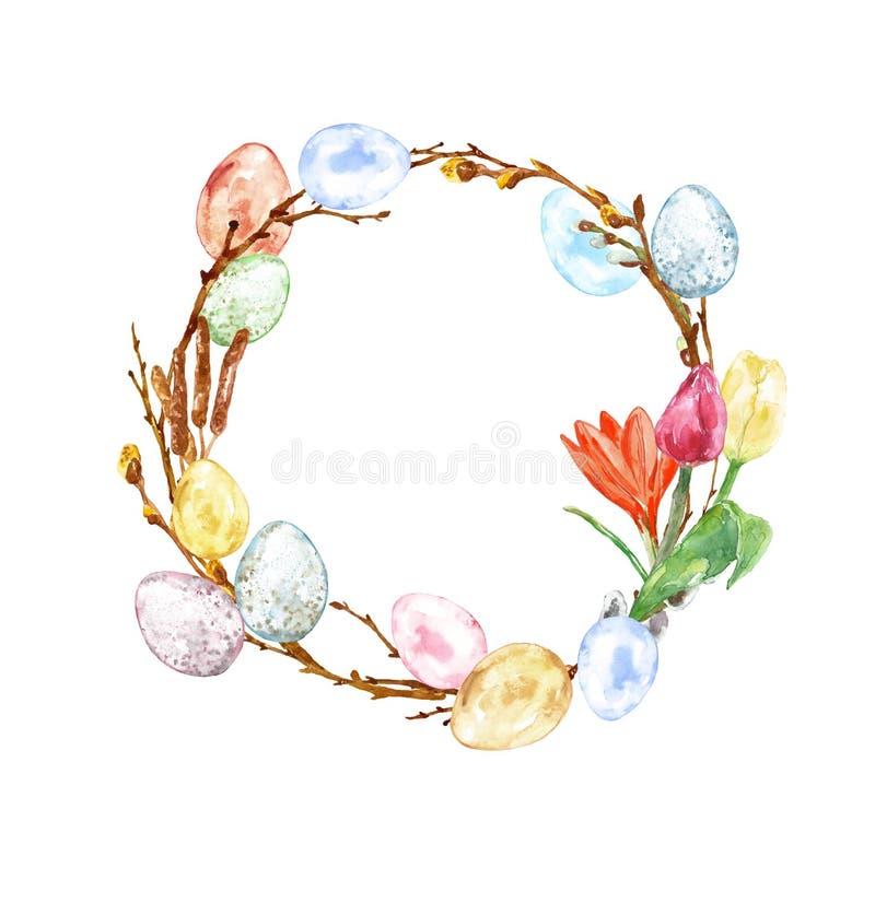 Dekorativ krans för lycklig påsk med kulöra ägg, vårblommor, ris för pussypil och trädfilialer som isoleras på vit backgroun royaltyfri illustrationer