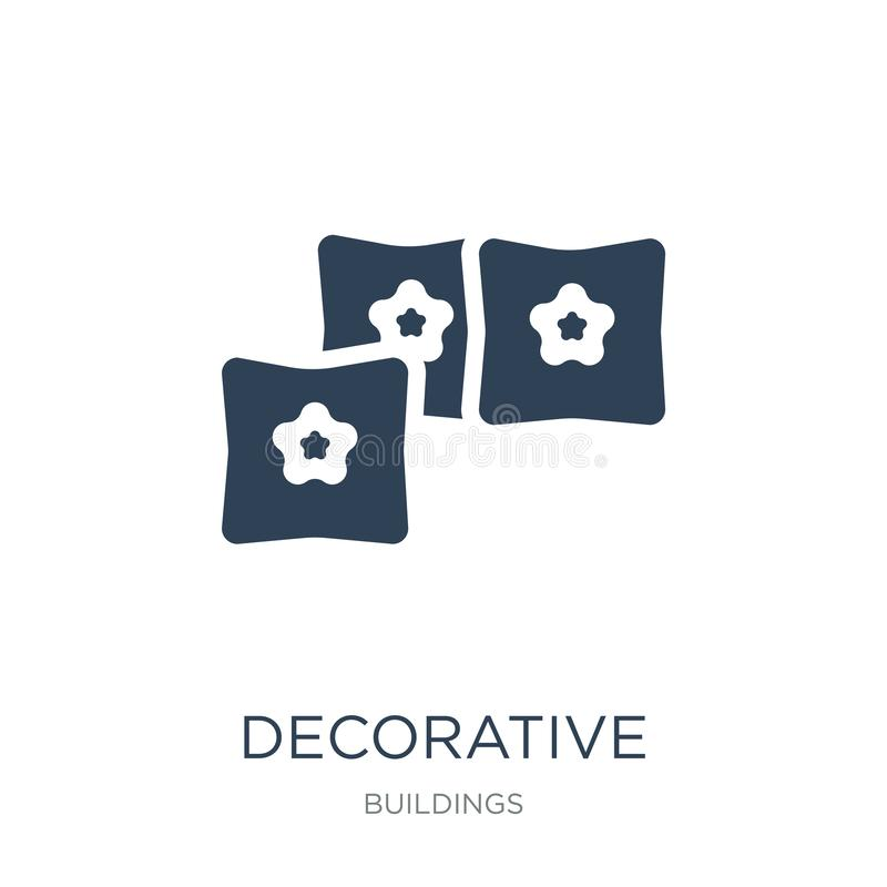 dekorativ kuddesymbol i moderiktig designstil dekorativ kuddesymbol som isoleras på vit bakgrund dekorativ kuddevektor stock illustrationer