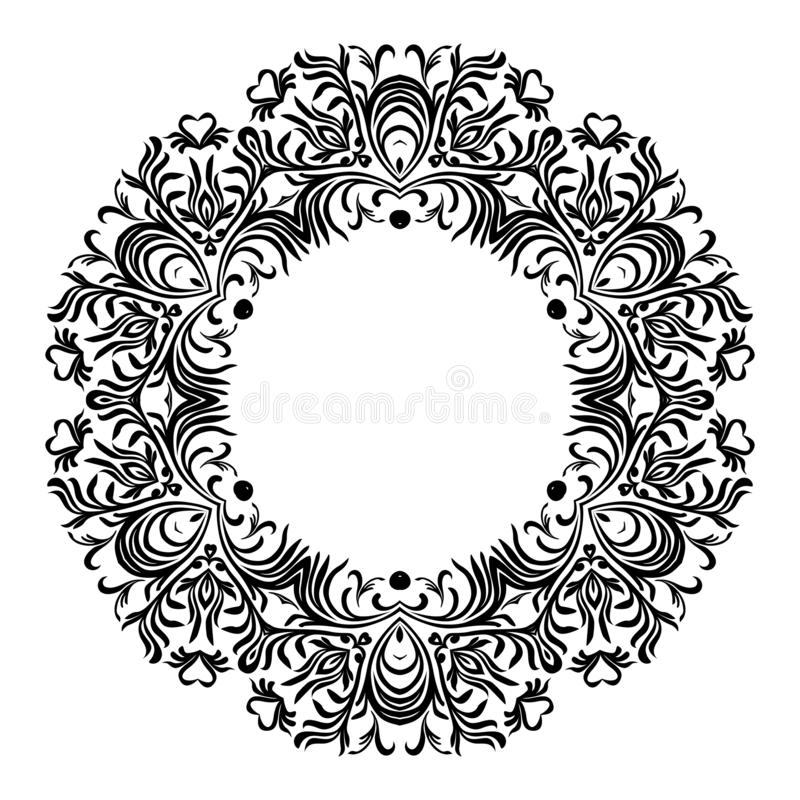Dekorativ linje konstramar för designmall Elegant beståndsdel för design i östlig stil, ställe för text Blom- svart översikt stock illustrationer
