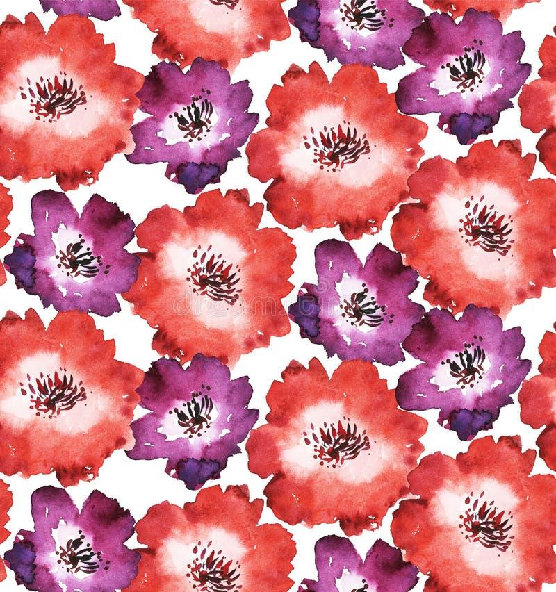 Dekorativ ljus röd blom- sömlös modell vektor illustrationer