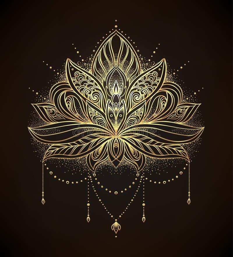 Dekorativ Lotus för vektor blomma, etnisk konst, mönstrad indisk pai stock illustrationer