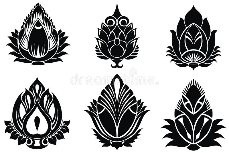 Dekorativ lotusblommauppsättning royaltyfri illustrationer