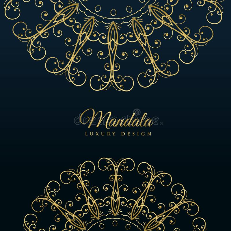 Dekorativ lyxig guld- bakgrund för Mandala stock illustrationer