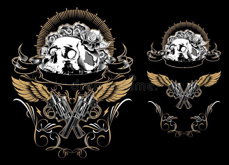 Dekorativ mänsklig skalle för tecknad film också vektor för coreldrawillustration stock illustrationer