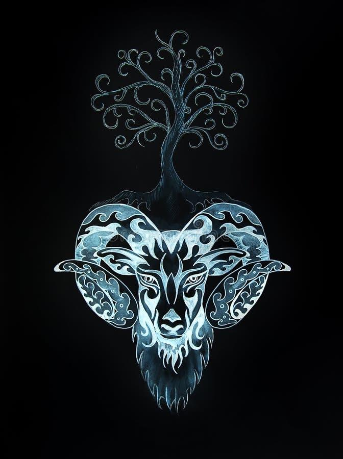Dekorativ målning av vädur, det sakrala djura symbolet och trädet av liv vektor illustrationer