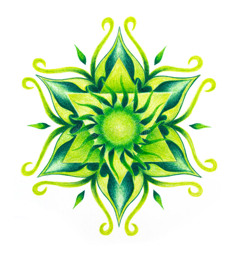 Dekorativ mandala för färg på vitbokbakgrund Hjärtachakra vektor illustrationer