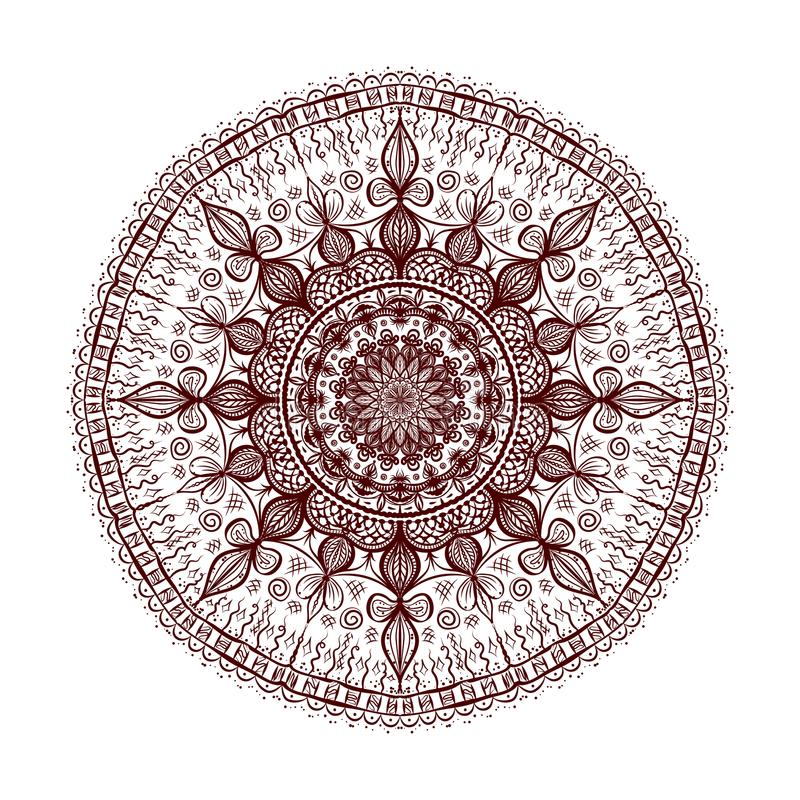 dekorativ mandala Hand tecknad vektorillustration stock illustrationer
