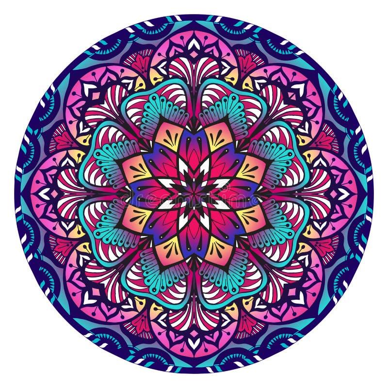 Dekorativ Mandala i violetta rosa och blåa färger vektor illustrationer