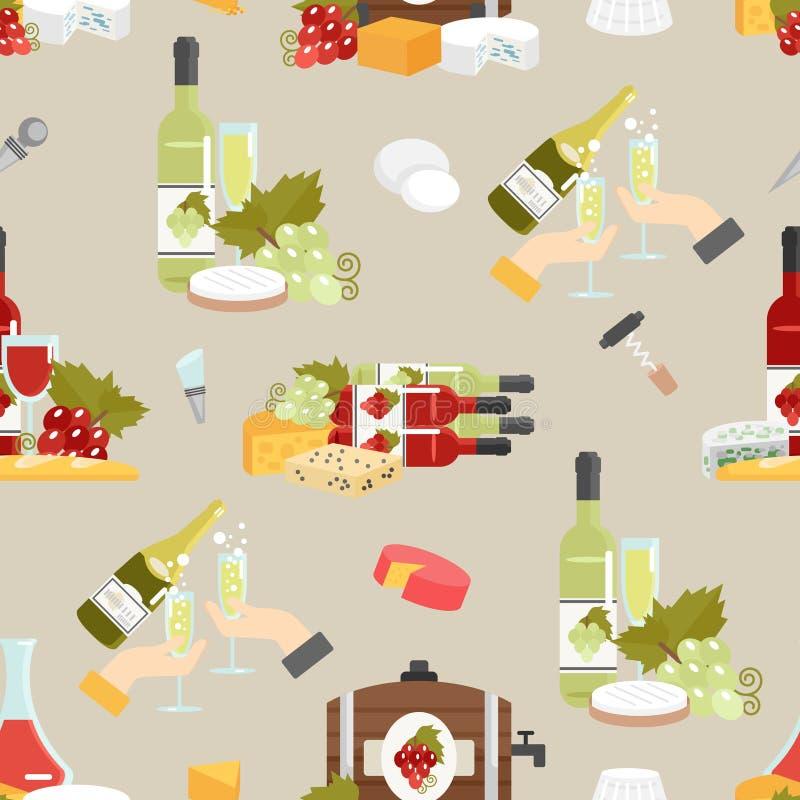 Dekorativ modell för ost och för vin royaltyfri illustrationer
