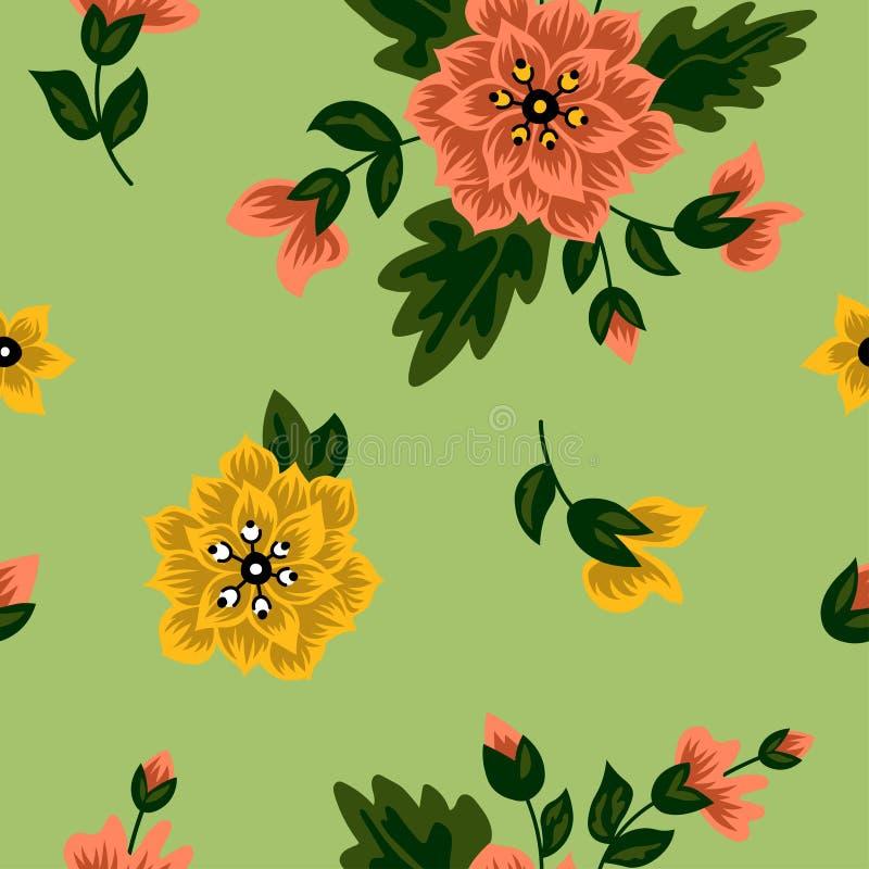 Dekorativ modell med blom- motiv stock illustrationer