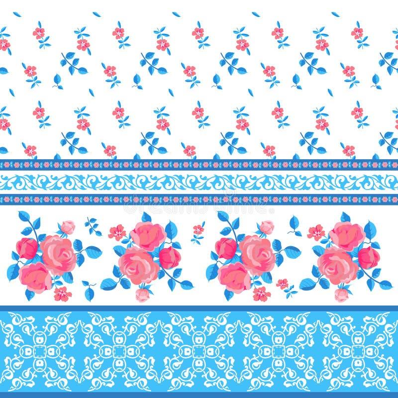 Dekorativ modell med blommor royaltyfri illustrationer