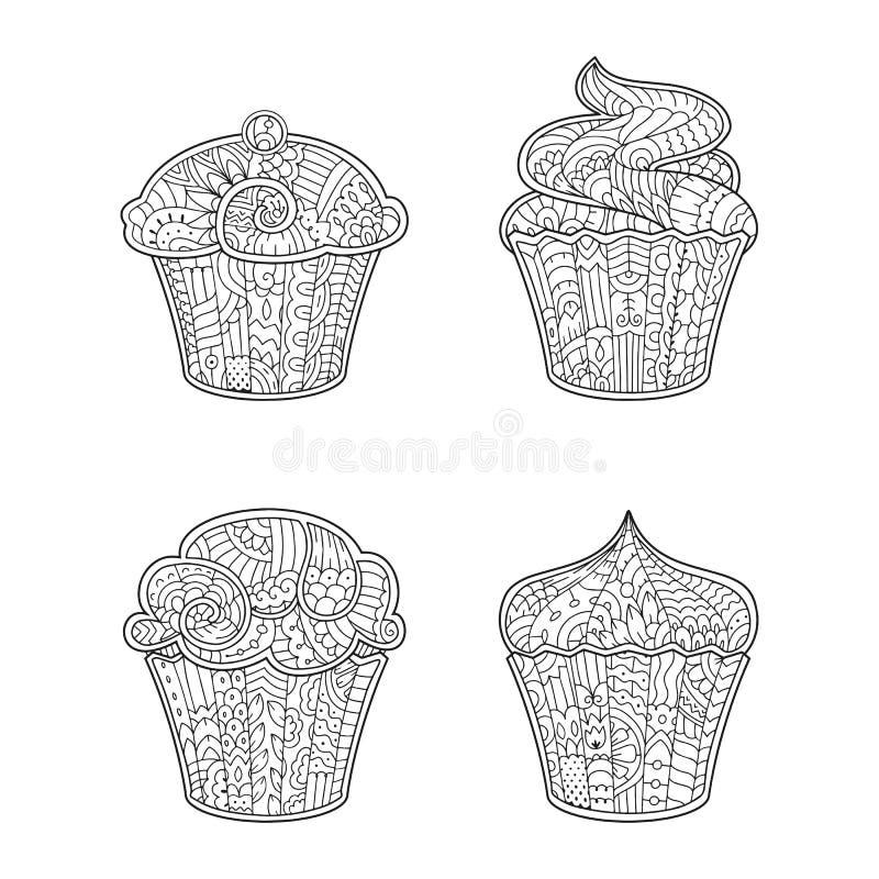 Dekorativ muffin för vektor i zenstil för vuxen färgläggningbok royaltyfri illustrationer