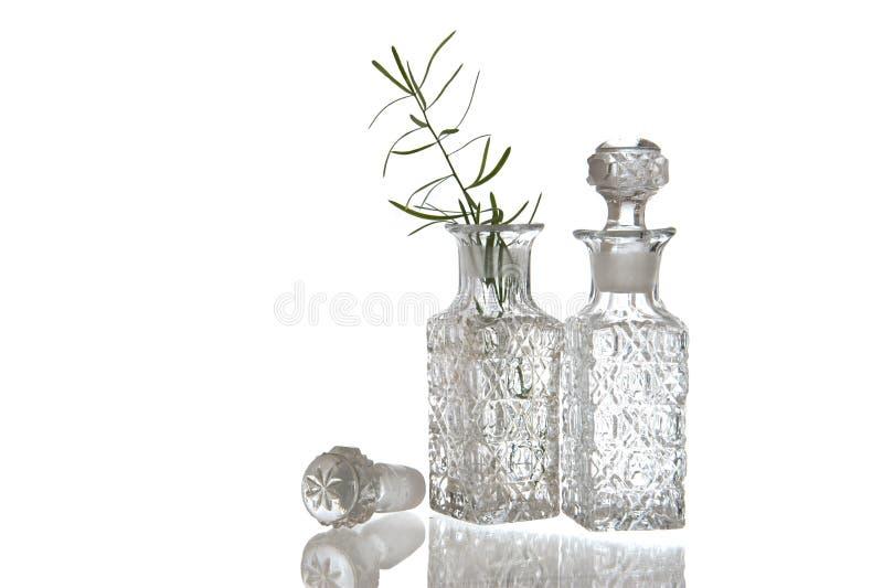Dekorativ oljakaraff för exponeringsglas två arkivfoto