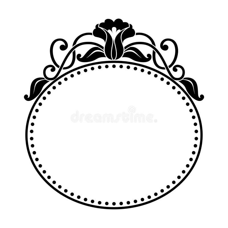 Dekorativ oval ram med den blom- modellen stock illustrationer