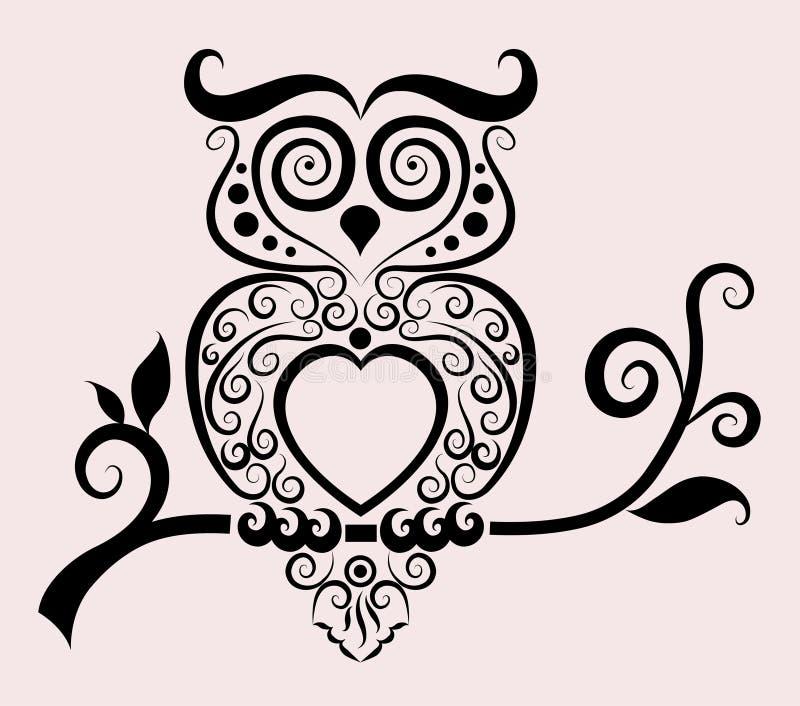 dekorativ owl stock illustrationer