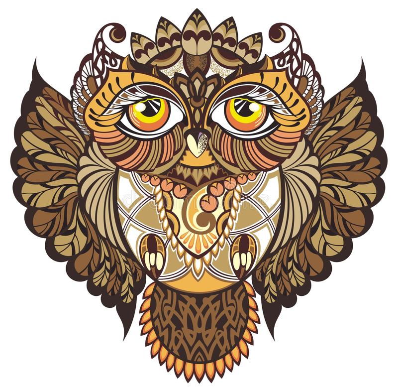 dekorativ owl vektor illustrationer