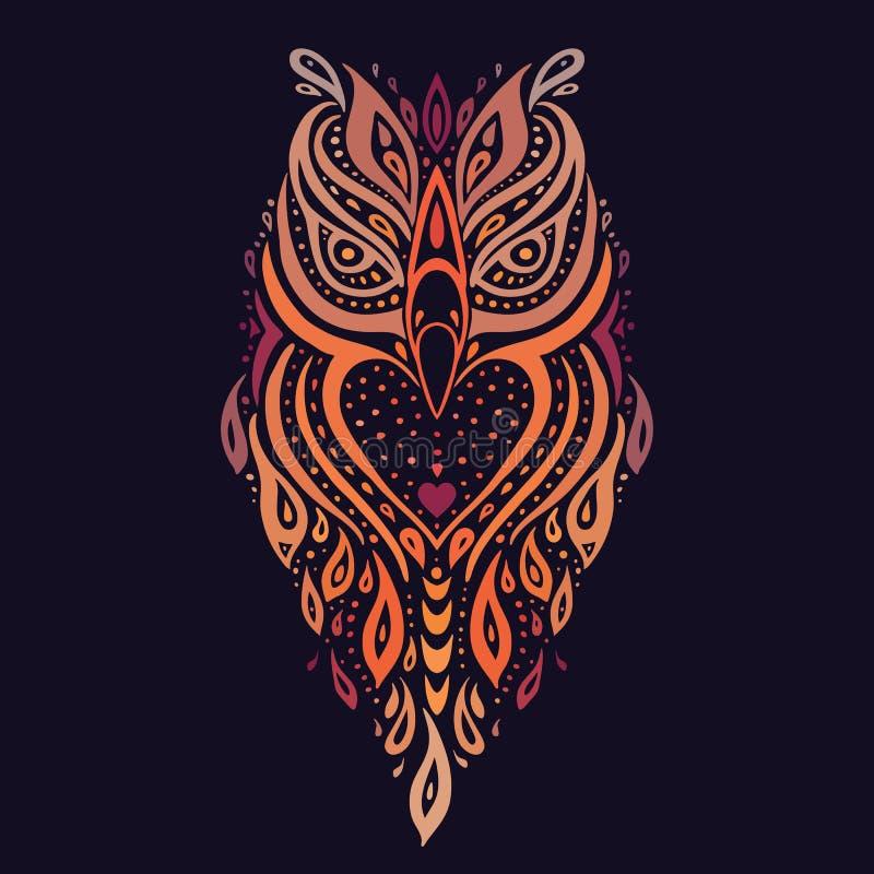 dekorativ owl etnisk modell stock illustrationer