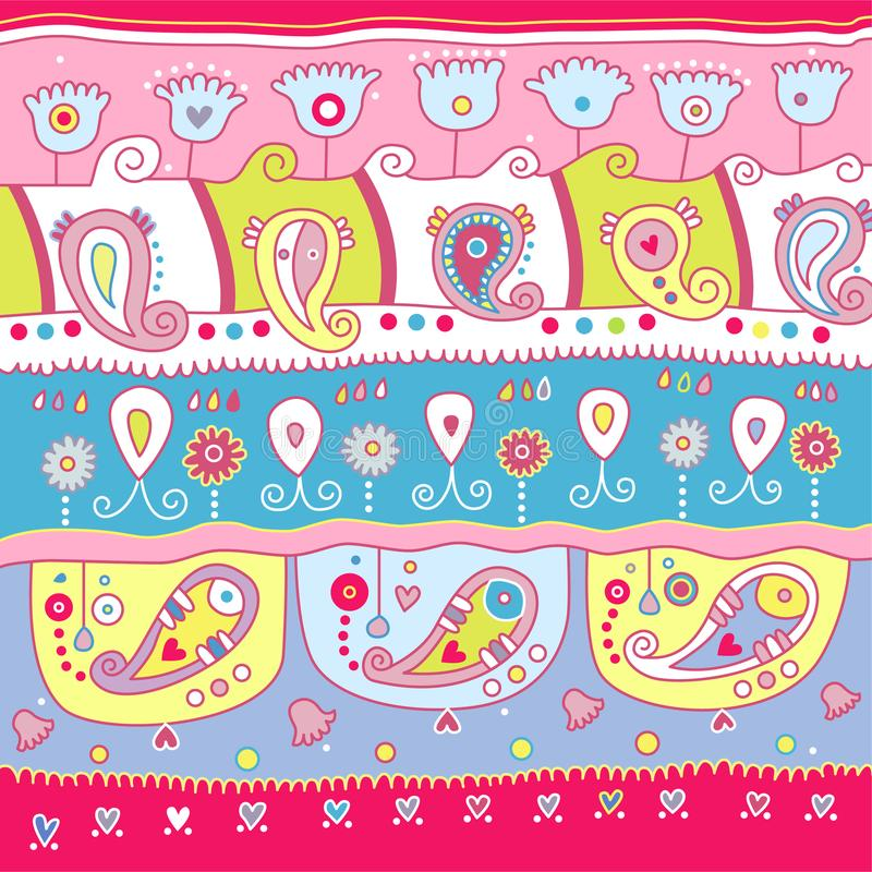 Dekorativ Paisley design med ljusa färger royaltyfri illustrationer