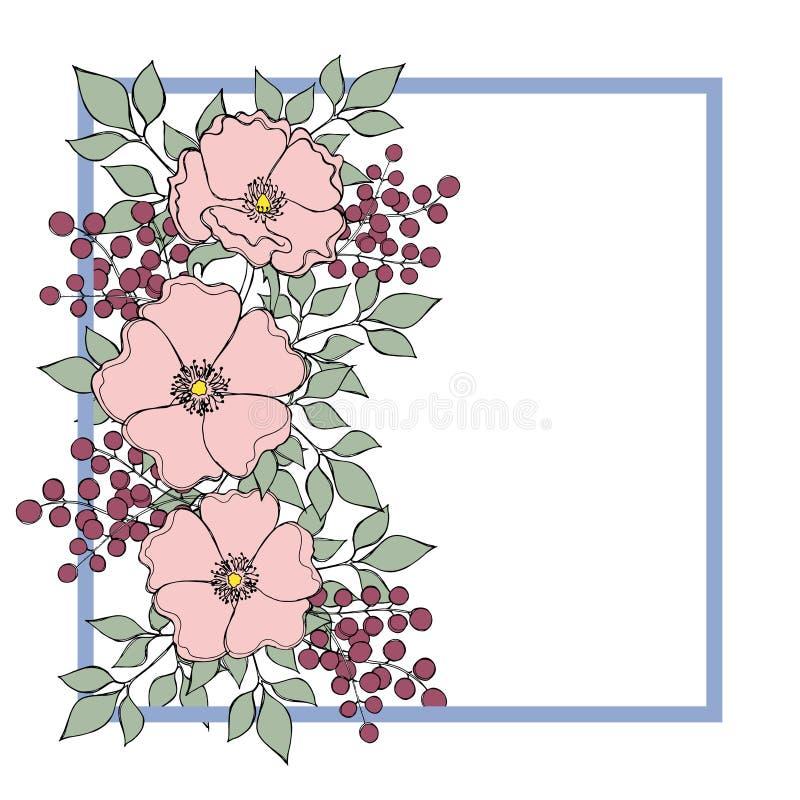 Dekorativ pastellfyrkantgräns med den lösa rosblomman för mjukhet royaltyfri illustrationer