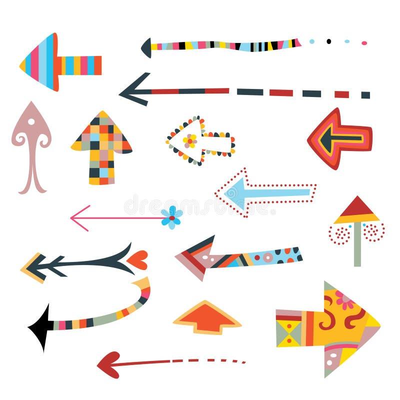 dekorativ pilsamling stock illustrationer