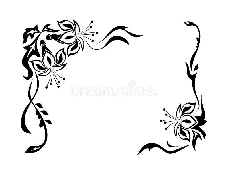 dekorativ prydnad för kant stock illustrationer