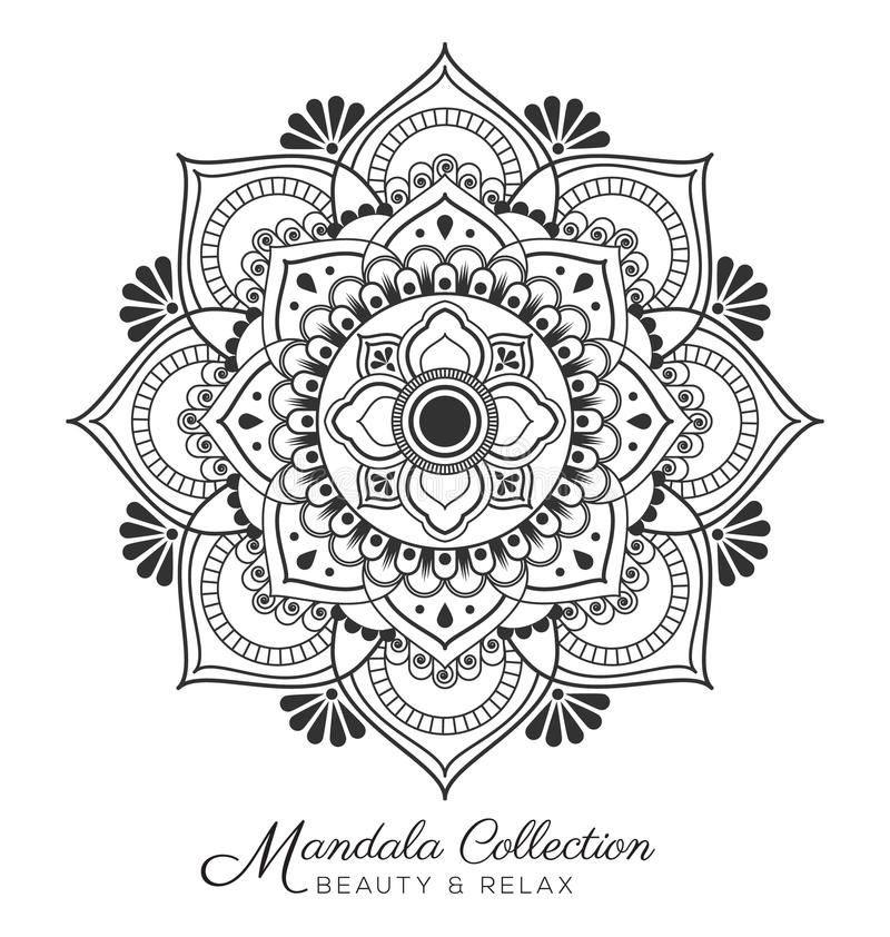 Dekorativ prydnaddesign för Mandala stock illustrationer