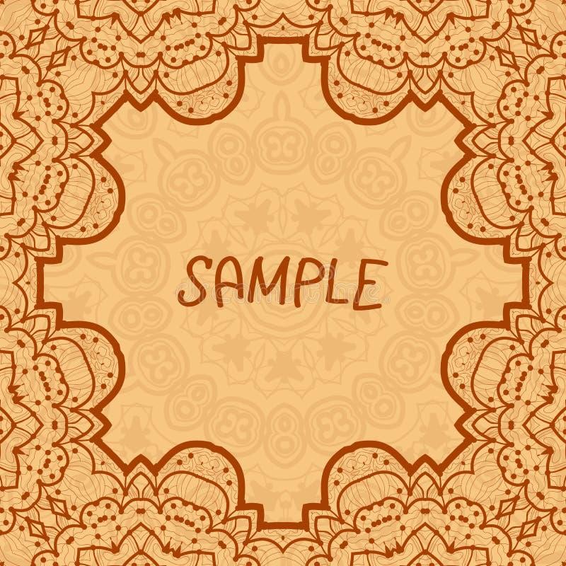 Dekorativ ram, delikat blom- modell vektor royaltyfri illustrationer