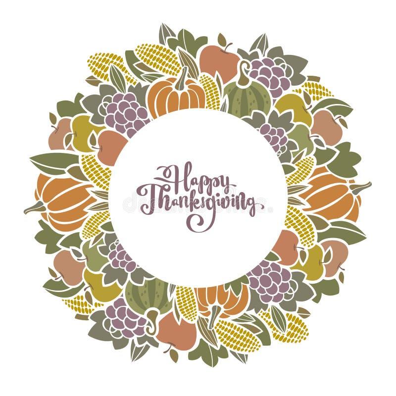 Dekorativ ram för Autumn Thanksgiving skörd med frukt och grönsaker vektor illustrationer