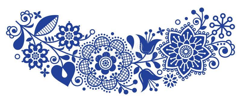 Dekorativ ram för folkkonstvektorrunda, blom- skandinavisk design i cirkeln, etnisk sammansättning vektor illustrationer