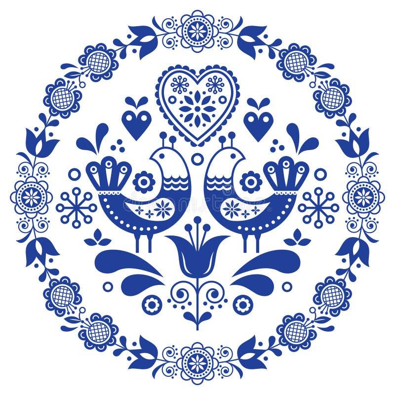 Dekorativ ram för folkkonstvektorrunda med fåglar, hjärtor och blommor, skandinavisk design i cirkeln, blom- sammansättning royaltyfri illustrationer