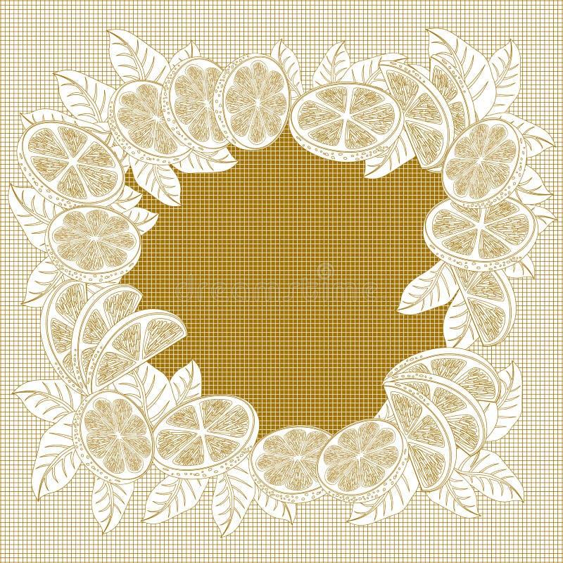 Dekorativ ram för tappning av apelsiner stock illustrationer