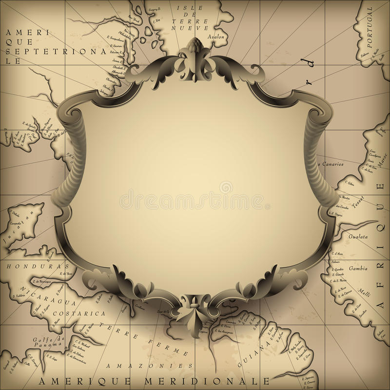Dekorativ ram för tappning mot gammal geografisk översiktsbakgrund royaltyfri illustrationer