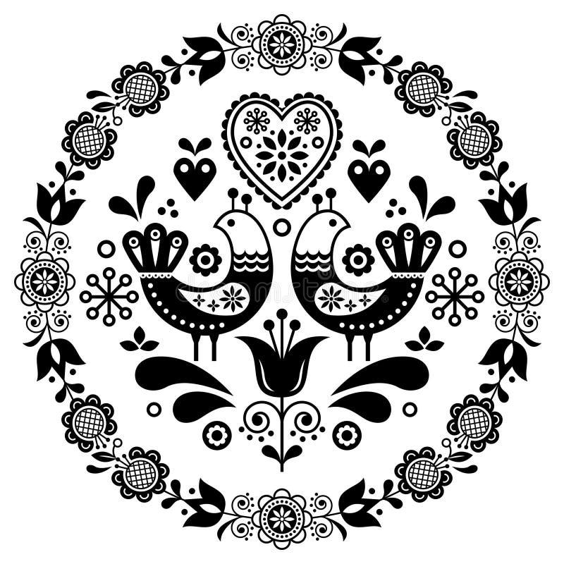 Dekorativ ram f?r folkkonstvektorrunda med f?glar, hj?rtor och blommor, skandinavisk design i cirkeln, blom- sammans?ttning vektor illustrationer