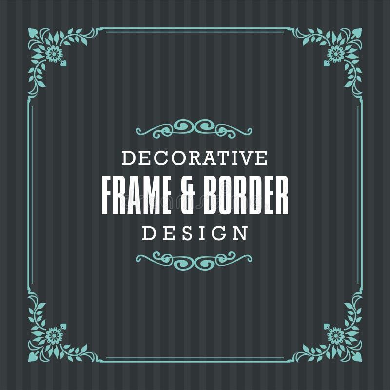 Dekorativ ram, gräns med den dekorativa linjen stil stock illustrationer