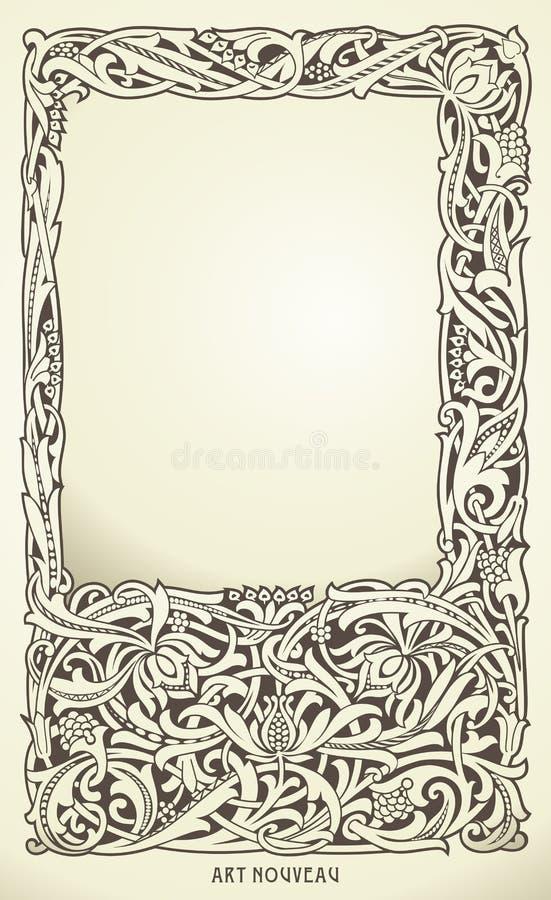 Dekorativ ram i jugendstilstil Detaljerat framför vektor illustrationer